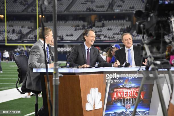 NBC Football Night in America play by play announcer Al Michaels with analyst Cris Collinsworth before Dallas Cowboys vs New York Giants game at ATT...