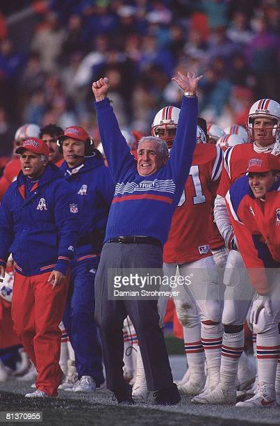 Football New England Patriots coach Dick MacPherson victorious during game vs New York Jets Foxboro MA