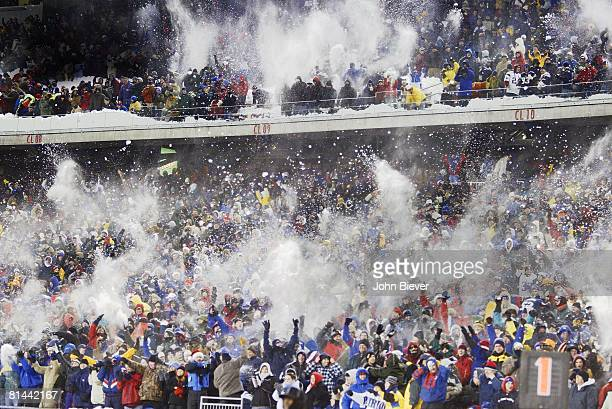 Football New England Patriots fans victorious throwing snow after Tedy Bruschi's interception and TD vs Miami Dolphins Foxboro MA 12/7/2003