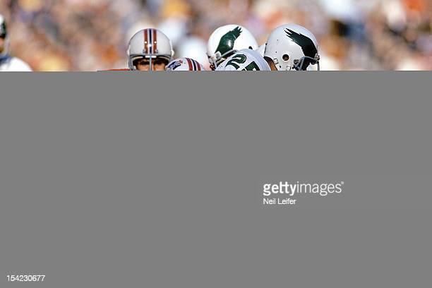 New England Patriots Julius Adams in action tackle vs Philadelphia Eagles Tom Sullivan at Veterans Stadium Philadelphia PA CREDIT Neil Leifer