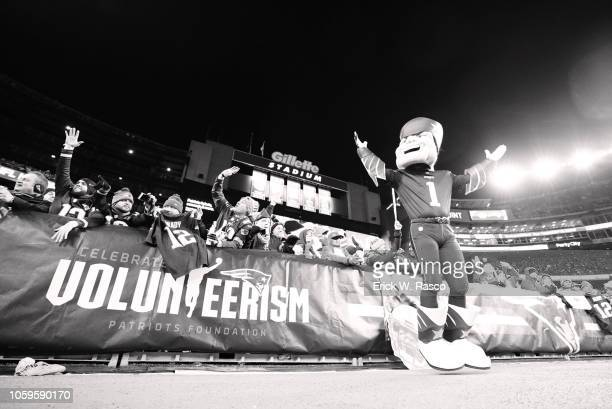 New England Patriots mascot Pat Patriot on field during game vs Green Bay Packers at Gillette Stadium Foxborough MA CREDIT Erick W Rasco