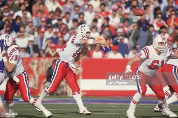 Football New England Patriots QB Steve Grogan in action vs Indianapolis Colts Foxboro MA
