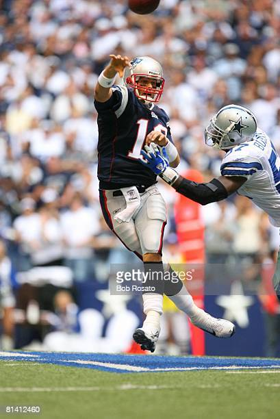 Football New England Patriots QB Tom Brady in action making jumping pass vs Dallas Cowboys Irving TX