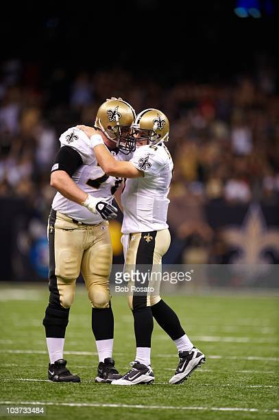 New Orlean Saints QB Drew Brees and Jonathan Goodwin during game vs San Diego Chargers during preseason New Orleans LA 8/27/2010 CREDIT Bob Rosato