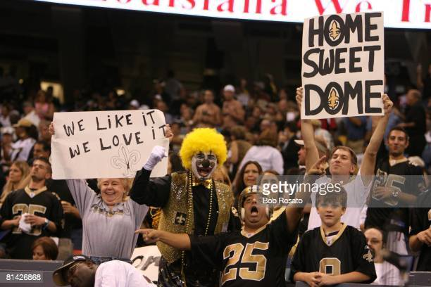 Football New Orleans Saints fans in stands with HOME SWEET DOME sign during game vs Atlanta Falcons First game in Superdome since Hurricane Katrina...