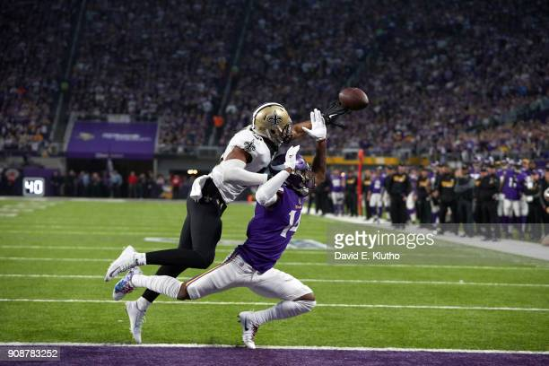 New Orleans Saints Marcus Williams in action forcing incomplete pass vs Minnesota Vikings Stefon Diggs at US Bank Stadium Minneapolis MN CREDIT David...
