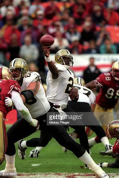 Football New Orleans Saints QB Aaron Brooks in action making pass vs San Francisco 49ers San Francisco CA