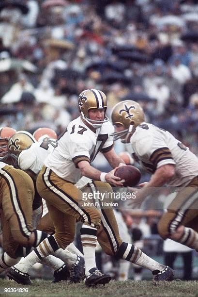 New Orleans Saints QB Billy Kilmer in action handoff vs Cleveland Browns New Orleans LA 9/15/1968 CREDIT John D Hanlon