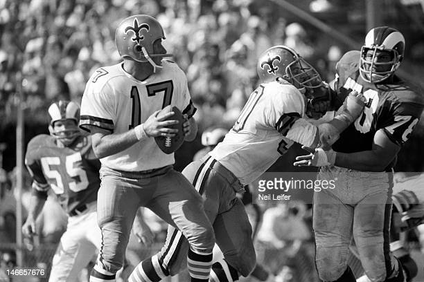 New Orleans Saints QB Billy Kilmer in action vs Los Angeles Rams Roger Brown at Tulane Stadium New Orleans LA 9/17/1967CREDIT Neil Leifer