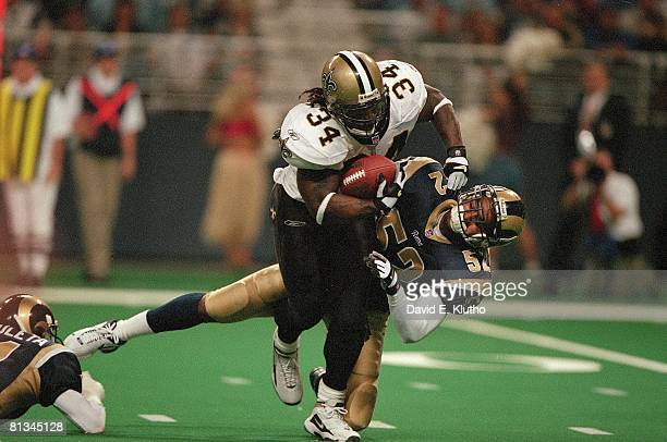 Football New Orleans Saints Ricky Williams in action vs St Louis Rams Tommy Polley St Louis MO