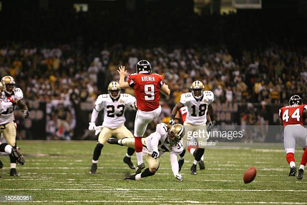 New Orleans Saints Steve Gleason in action after blocking punt vs Atlanta Falcons Michael Koenen at Louisiana Superdome First game in Superdome since...