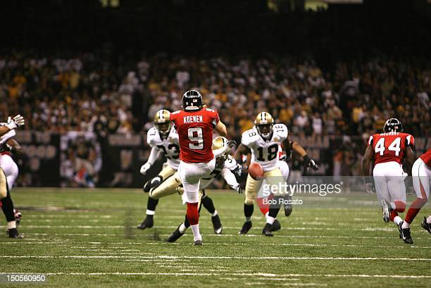 New Orleans Saints Steve Gleason in action diving to block punt vs Atlanta Falcons Michael Koenen at Louisiana Superdome First game in Superdome...