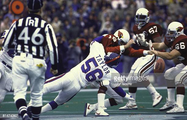 Football New York Giants Lawrence Taylor in action making sack and forcing fumble vs St Louis Cardinals QB Neil Lomax St Louis MO 12/9/1984