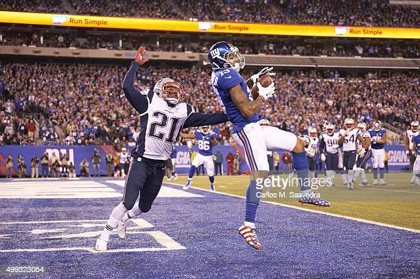 New York Giants Odell Beckham Jr in action making catch vs New England Patriots Malcolm Butler at MetLife Stadium Pass ruled incomplete East...