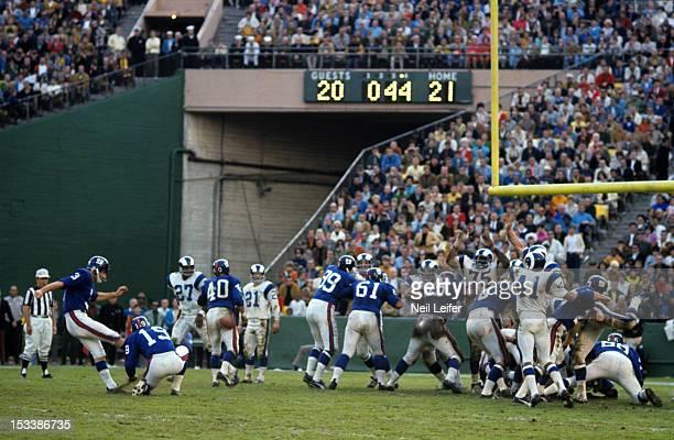 New York Giants Pete Gogolak in action field goal kick vs Los Angeles Rams at Los Angeles Memorial Coliseum Los Angeles CA CREDIT Neil Leifer