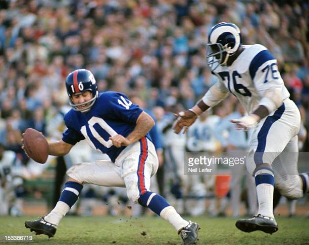 New York Giants QB Fran Tarkenton in action under pressure from Los Angeles Rams at Los Angeles Memorial Coliseum Los Angeles CA CREDIT Neil Leifer