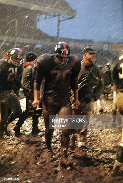 Football New York Giants Sam Huff covered with mud on sidelines during game vs Philadelphia Eagles at Yankee Stadium Bronx NY CREDIT Neil Leifer