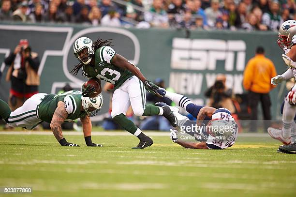 New York Jets Chris Ivory in action rushing vs New England Patriots Dont'a Hightower at MetLife Stadium East Rutherford NJ CREDIT Carlos M Saavedra