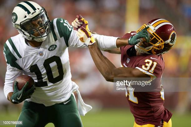 New York Jets Jermaine Kearse in action vs Washington Redskins Fabian Moreau vs during preseason game at FedEx Field Landover MD CREDIT Simon Bruty