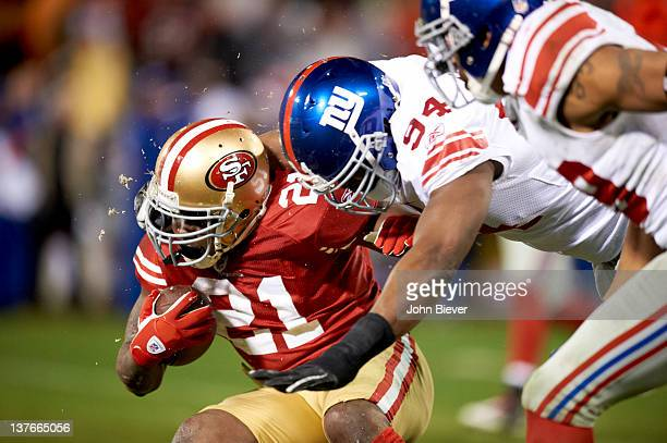 NFC Championship New York Giants Mathias Kiwanuka in action tackle vs San Francisco 49ers Frank Gore at Candlestick Park San Francisco CA CREDIT John...