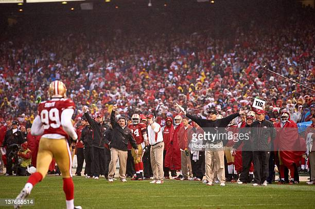 NFC Championship Overall view of San Francisco 49ers head coach Jim Harbaugh on sidelines during game vs New York Giants at Candlestick Park San...