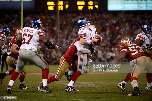 NFC Championship San Francisco 49ers Aldon Smith in action sack vs New York Giants QB Eli Manning at Candlestick Park San Francisco CA CREDIT John W...