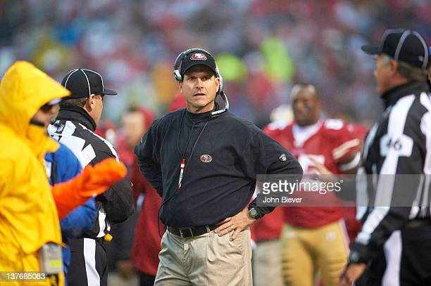 NFC Championship San Francisco 49ers head coach Jim Harbaugh on sidelines during game vs New York Giants at Candlestick Park San Francisco CA CREDIT...