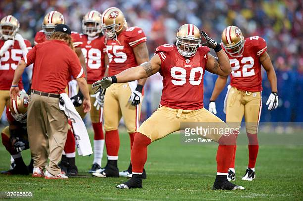 NFC Championship San Francisco 49ers Isaac Sopoaga victorious after tackle during game vs New York Giants at Candlestick Park San Francisco CA CREDIT...