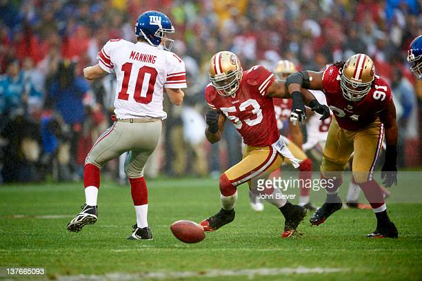 NFC Championship San Francisco 49ers NaVorro Bowman in action after fumble vs New York Giants QB Eli Manning at Candlestick Park San Francisco CA...