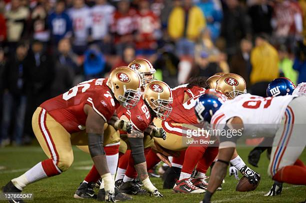 NFC Championship San Francisco 49ers QB Alex Smith behind his offensive line before snap during game vs New York Giants at Candlestick Park San...