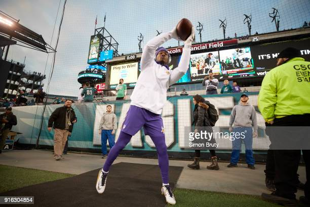 NFC Conference Championship Minnesota Vikings Stefon Diggs warming up before game vs Philadelphia Eagles at Lincoln Financial Field Philadelphia PA...