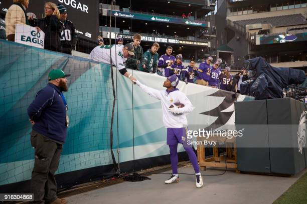 NFC Conference Championship Minnesota Vikings Stefon Diggs shaking hands with fans before game vs Philadelphia Eagles at Lincoln Financial Field...