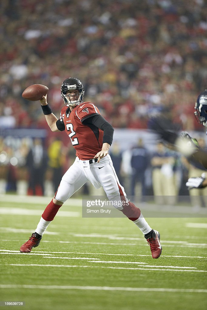 Atlanta Falcons QB Matt Ryan (2) in action, making pass vs Seattle Seahawks at Georgia Dome. Simon Bruty F187 )