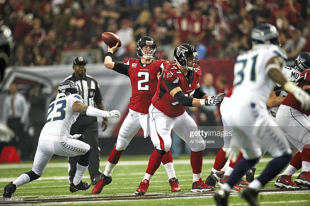 Atlanta Falcons QB Matt Ryan (2) in action, making pass vs Seattle Seahawks at Georgia Dome. Al Tielemans F51 )