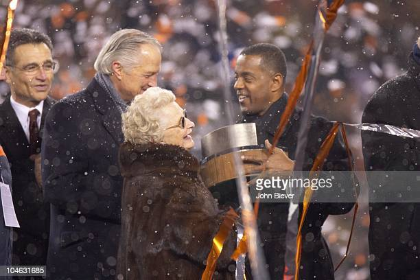 NFC Playoffs Chicago Bears owner Virginia Halas McCaskey and her son Michael McCaskey victorious during George Halas Trophy presentation by former...