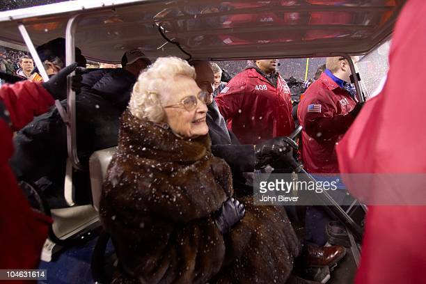 NFC Playoffs Chicago Bears owner Virginia Halas McCaskey victorious with son Michael McCaskey in golf cart after winning game vs New Orleans Saints...