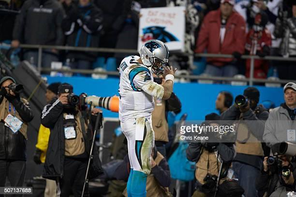 NFC Playoffs Closeup of Carolina Panthers QB Cam Newton victorious during game vs Arizona Cardinals at Bank of America Stadium Dab Charlotte NC...