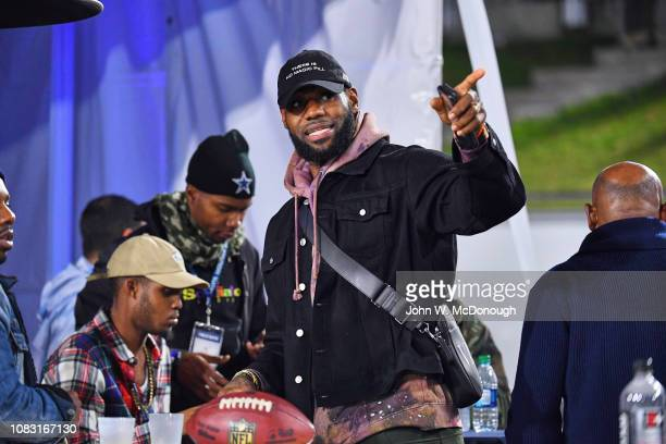 NFC Playoffs Closeup of Los Angeles Lakers LeBron James in stands during Dallas Cowboys vs Los Angeles Rams game at Los Angeles Memorial Coliseum Los...