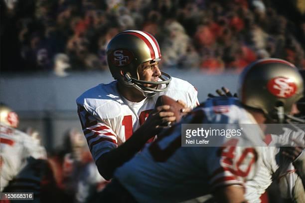NFC Playoffs Closeup of San Francisco 49ers QB John Brodie in action vs Minnesota Vikings at Metropolitan Stadium Bloomington MN CREDIT Neil Leifer