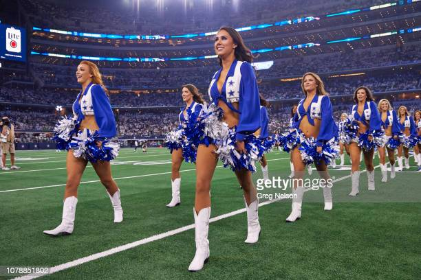 NFC Playoffs Dallas Cowboys cheerleaders on field before game vs Seattle Seahawks at ATT Stadium Arlington TX CREDIT Greg Nelson