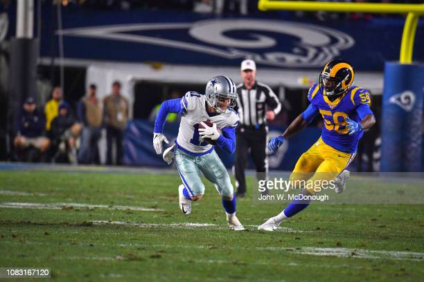 NFC Playoffs Dallas Cowboys Cole Beasley in action rushing vs Los Angeles Rams Cory Littleton at Los Angeles Memorial Coliseum Los Angeles CA CREDIT...