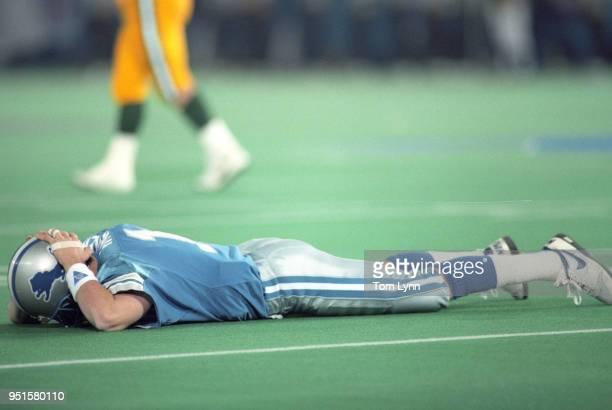 NFC Playoffs Detroit Lions QB Erik Kramer face down on field during game vs Green Bay Packers at Pontiac Silverdome Detroit MI CREDIT Tom Lynn