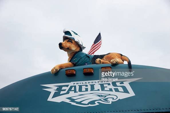 Exterior View Of Philadelphia Eagles Fans Van With Plush Dog Doll News Photo