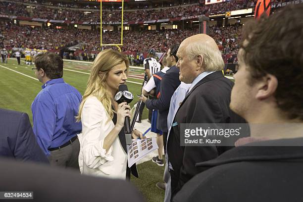 NFC Playoffs Fox Sports sideline reporter Erin Andrews on field with Fox Sports analyst Terry Bradshaw on field during Atlanta Falcons vs Green Bay...