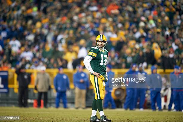 NFC Playoffs Green Bay Packers QB Aaron Rodgers during game vs New York Giants at Lambeau Field Green Bay WI CREDIT John Biever