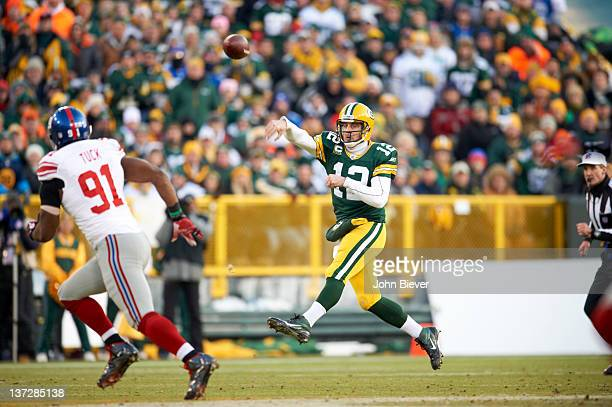NFC Playoffs Green Bay Packers QB Aaron Rodgers in action passing vs New York Giants at Lambeau Field Green Bay WI CREDIT John Biever