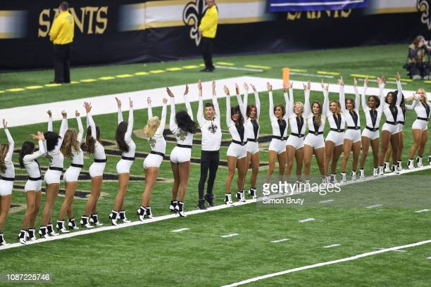 NFC Playoffs Los Angeles Rams cheerleaders on field before game vs New Orleans Saints at MercedesBenz Superdome New Orleans LA CREDIT Simon Bruty