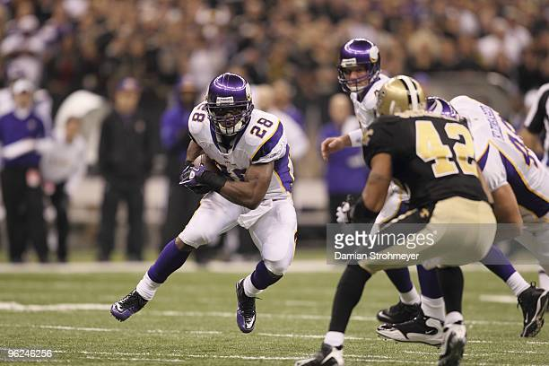 NFC Playoffs Minnesota Vikings Adrian Peterson in action vs New Orleans Saints New Orleans LA 1/24/2010 CREDIT Damian Strohmeyer