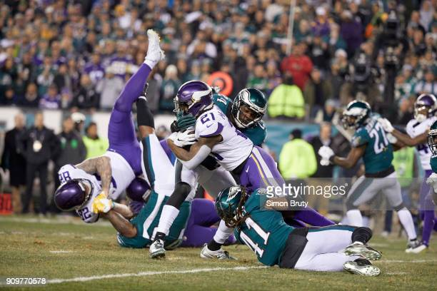 NFC Playoffs Minnesota Vikings Jerick McKinnon in action rushing vs Philadelphia Eagles Corey Graham and Ronald Darby at Lincoln Financial Field...