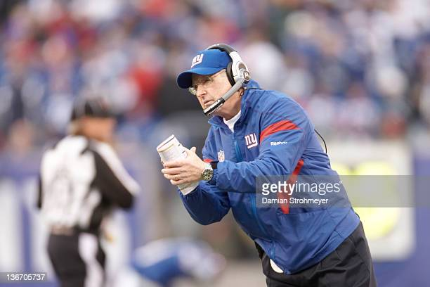 NFC Playoffs New York Giants head coach Tom Coughlin during game vs Atlanta Falcons at MetLife Stadium East Rutherford NJ CREDIT Damian Strohmeyer